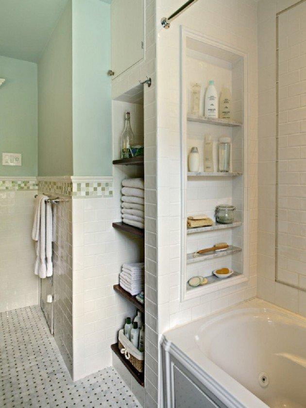 ванна с полками из гипсокартона