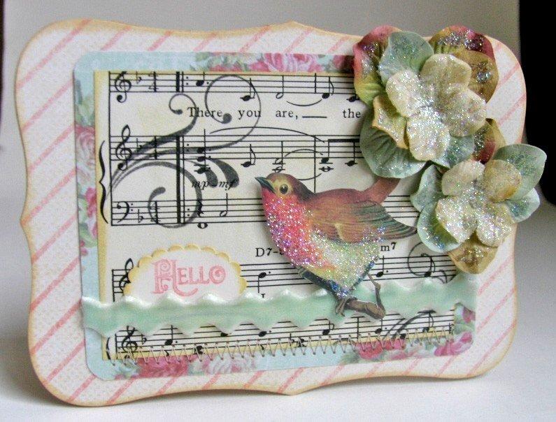 Катей, скрапбукинг открытка с птичкой