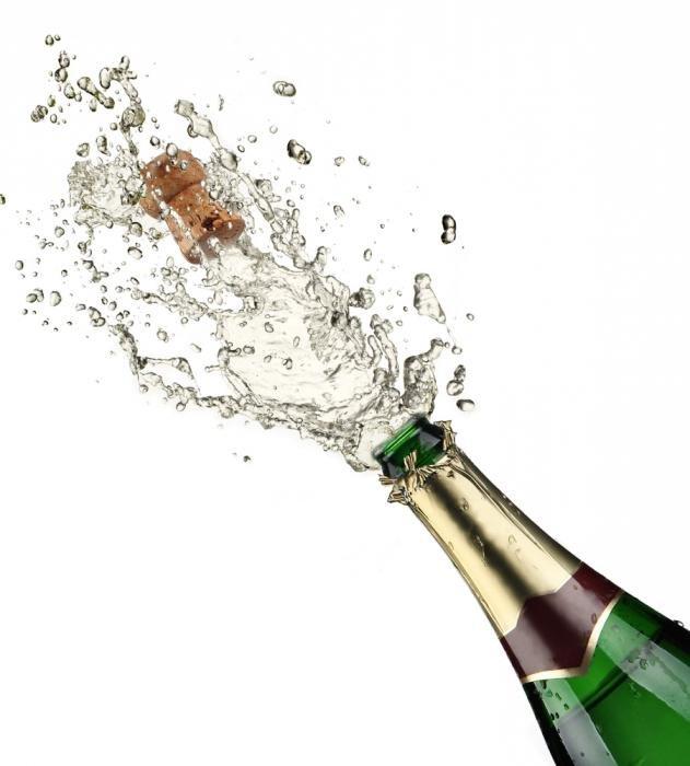 Открытка бутылка шампанского, для