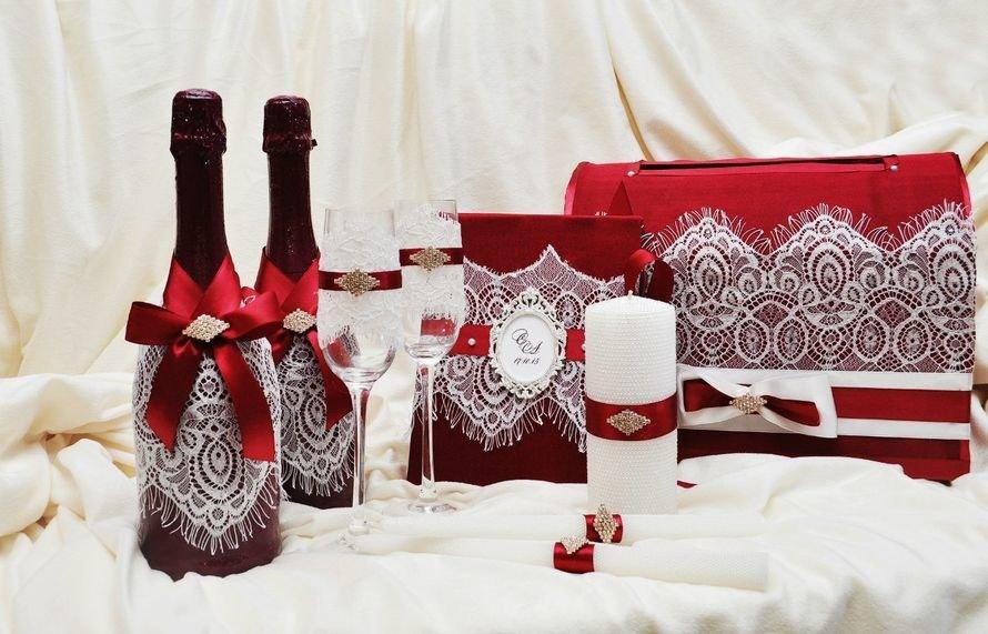 Свадебный набор бордовый