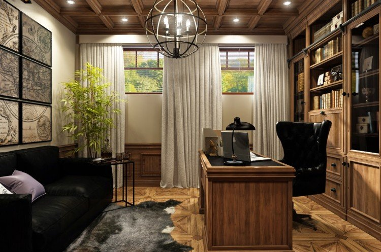 Для кабинетов рекомендуется организовать верхнее рассеянное освещение, а на столе всегда иметь под рукой удобную лампу для чтения.