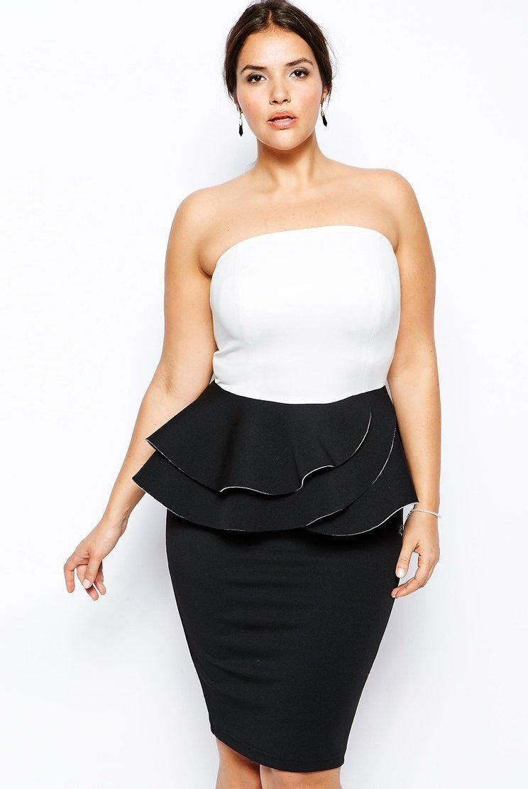 Элегантное черно белое платье