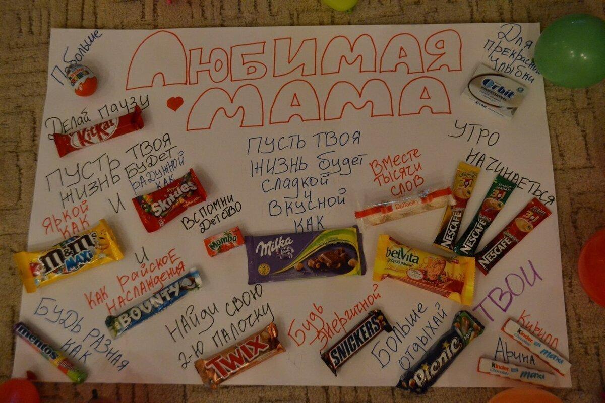 Про мама, открытка со сладостями маме своими руками