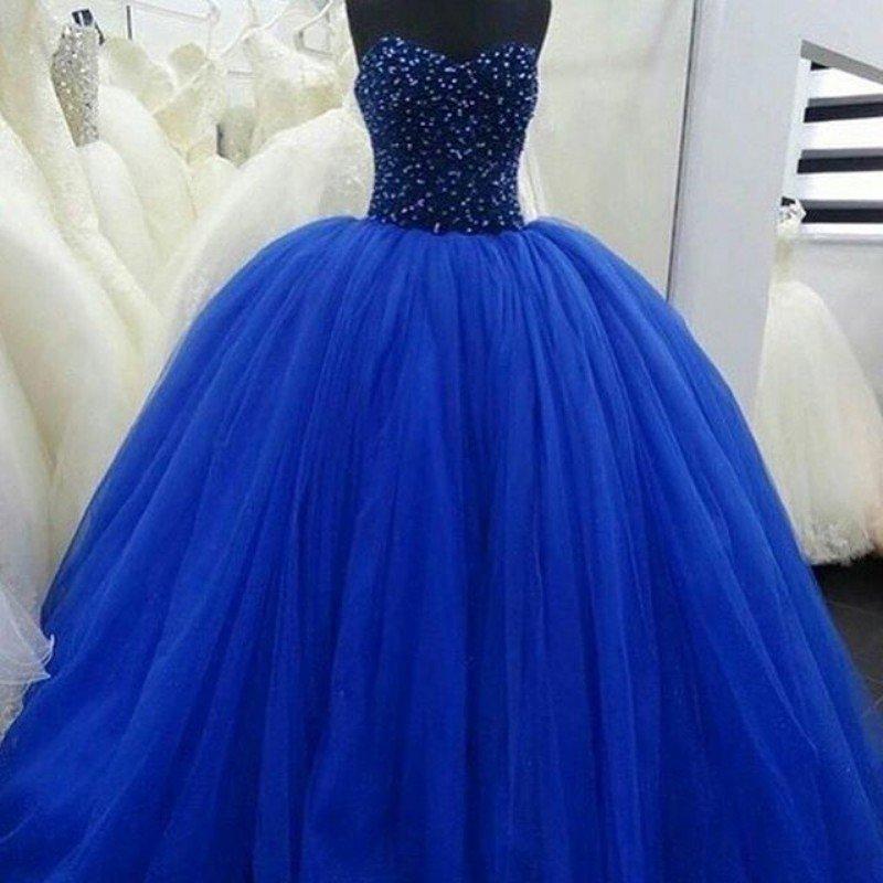 Синее пышное свадебное платье в