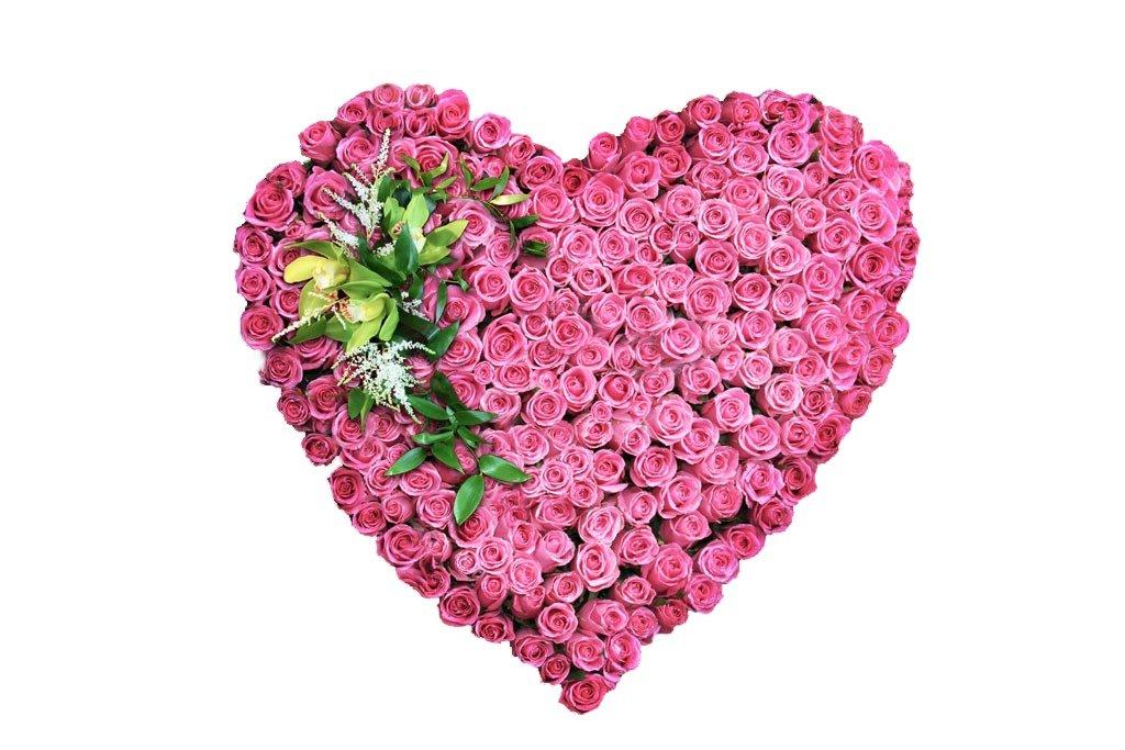 Спокойной, открытка сердце из цветов