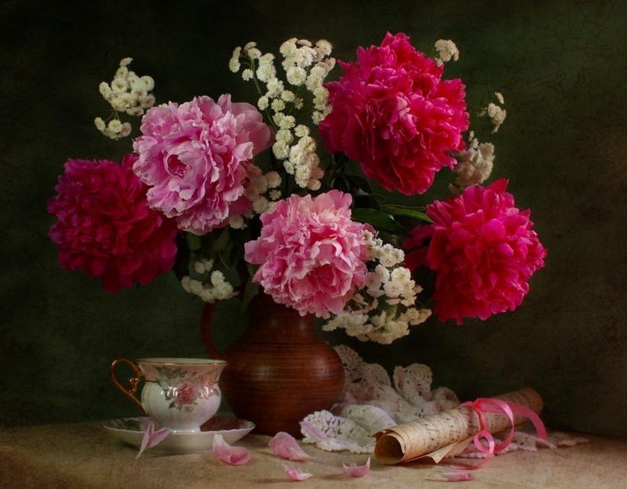 Котами надписями, открытка гифка пионы летние цветы