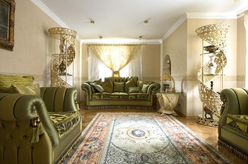 Комната отдыха с болотно-зеленой мебелью