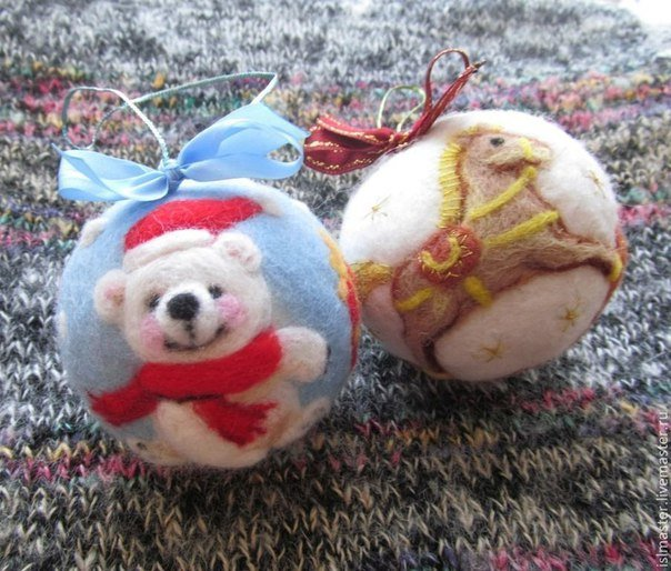 Яркие и уютные елочные игрушки, свалянные из шерсти