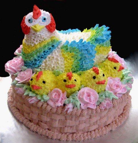 кремовый торт курица с цыплятками