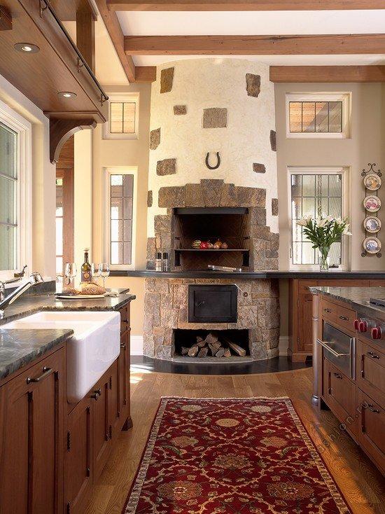 интерьер кухни с русской печью в частном доме фото более