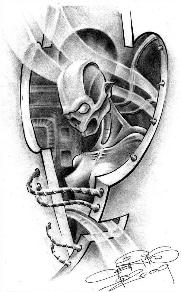тату эскизы рисунки биомеханика стиль оформленные