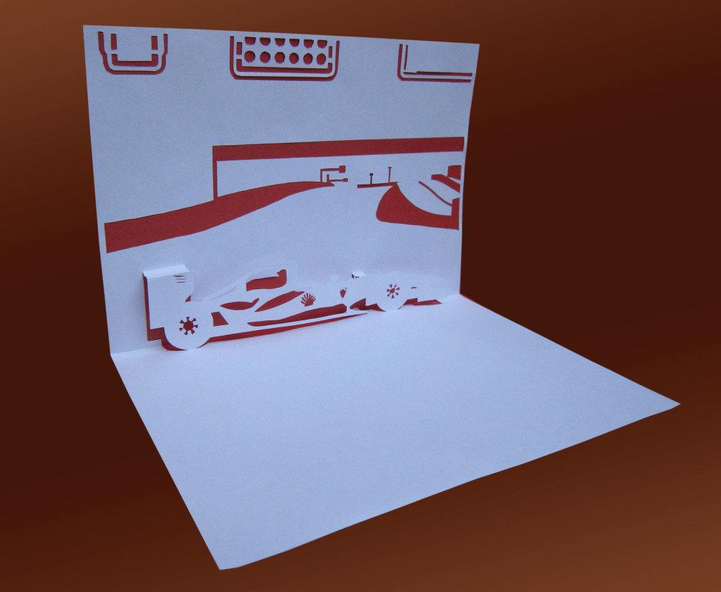 Объемная открытка самолет киригами