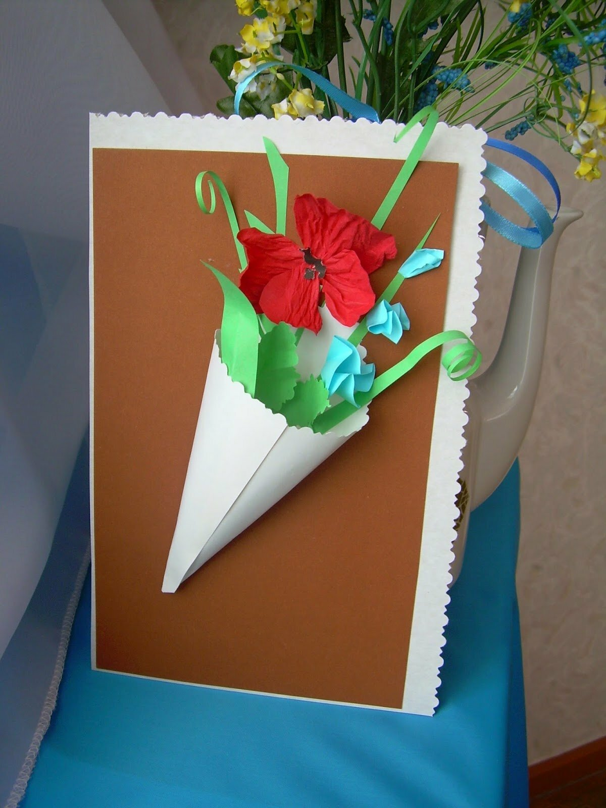 Открытки, как сделать открытку из картона цветок