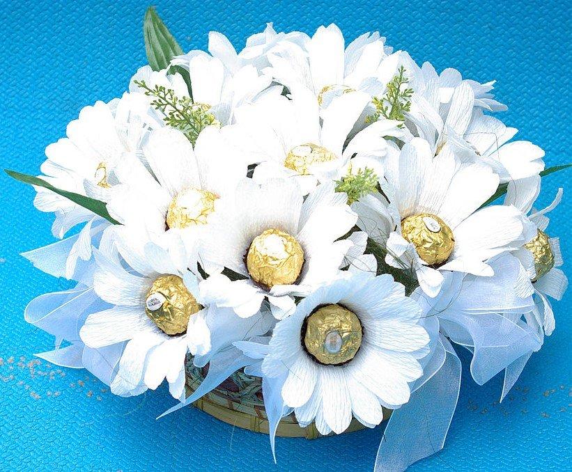 Букет из конфет ромашка, магазина цветы свадебный