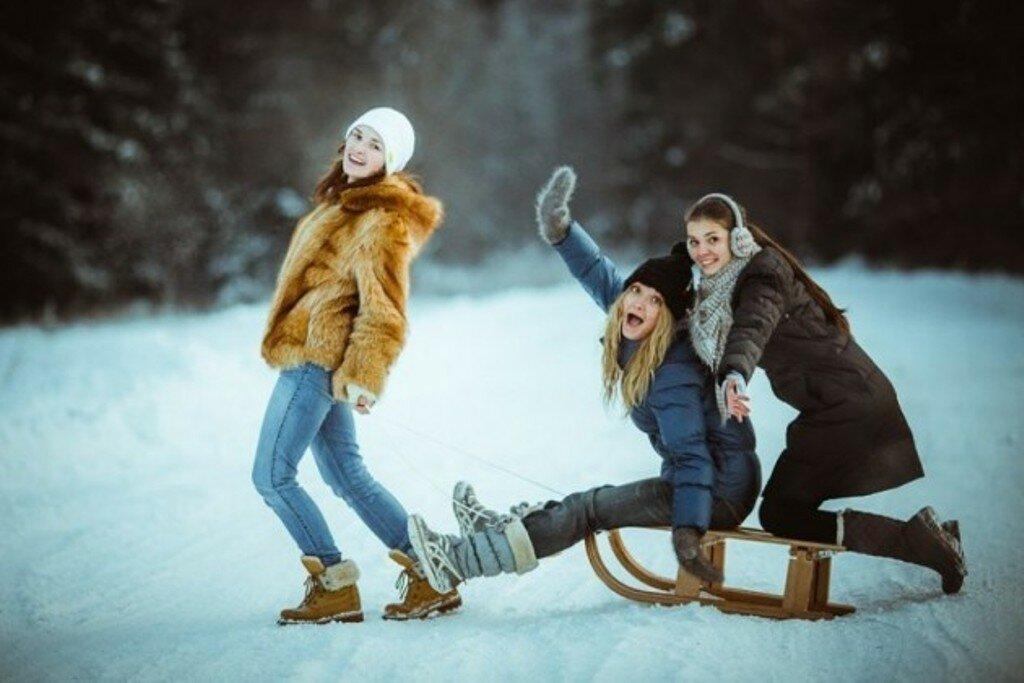 промыть, зимние фотосессии на улице с подругами пошли