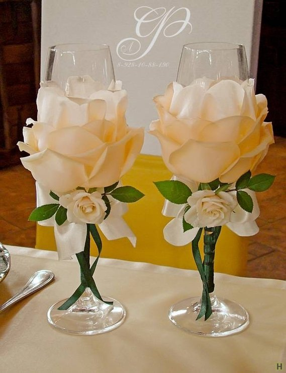 Свадебные бокалы своими руками цветок