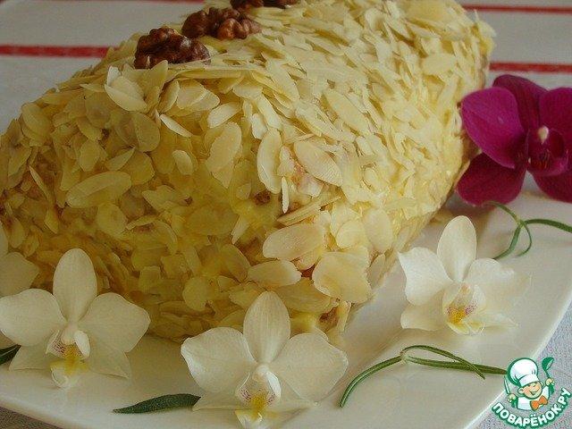 Торт полено из слоеного теста заварной крем