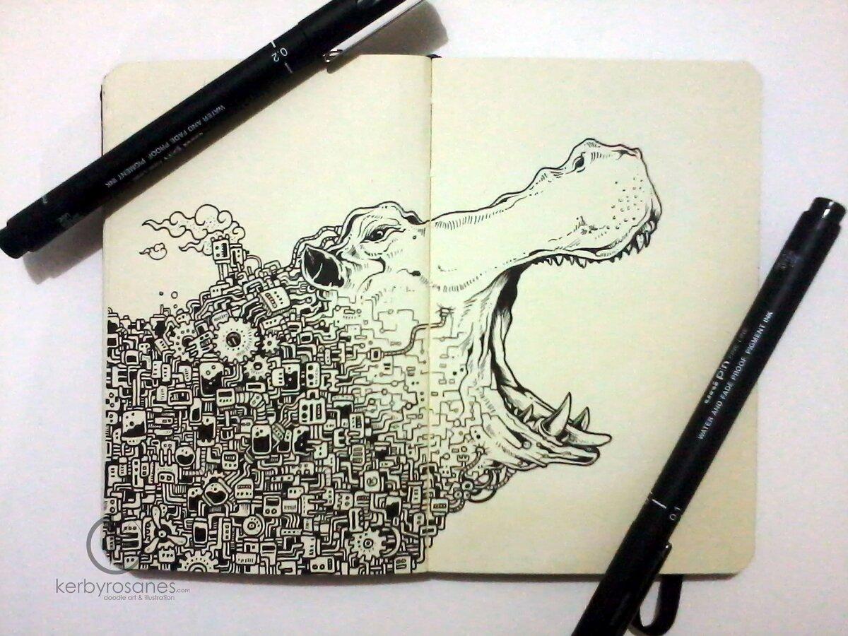 Интересные картинки черной ручкой