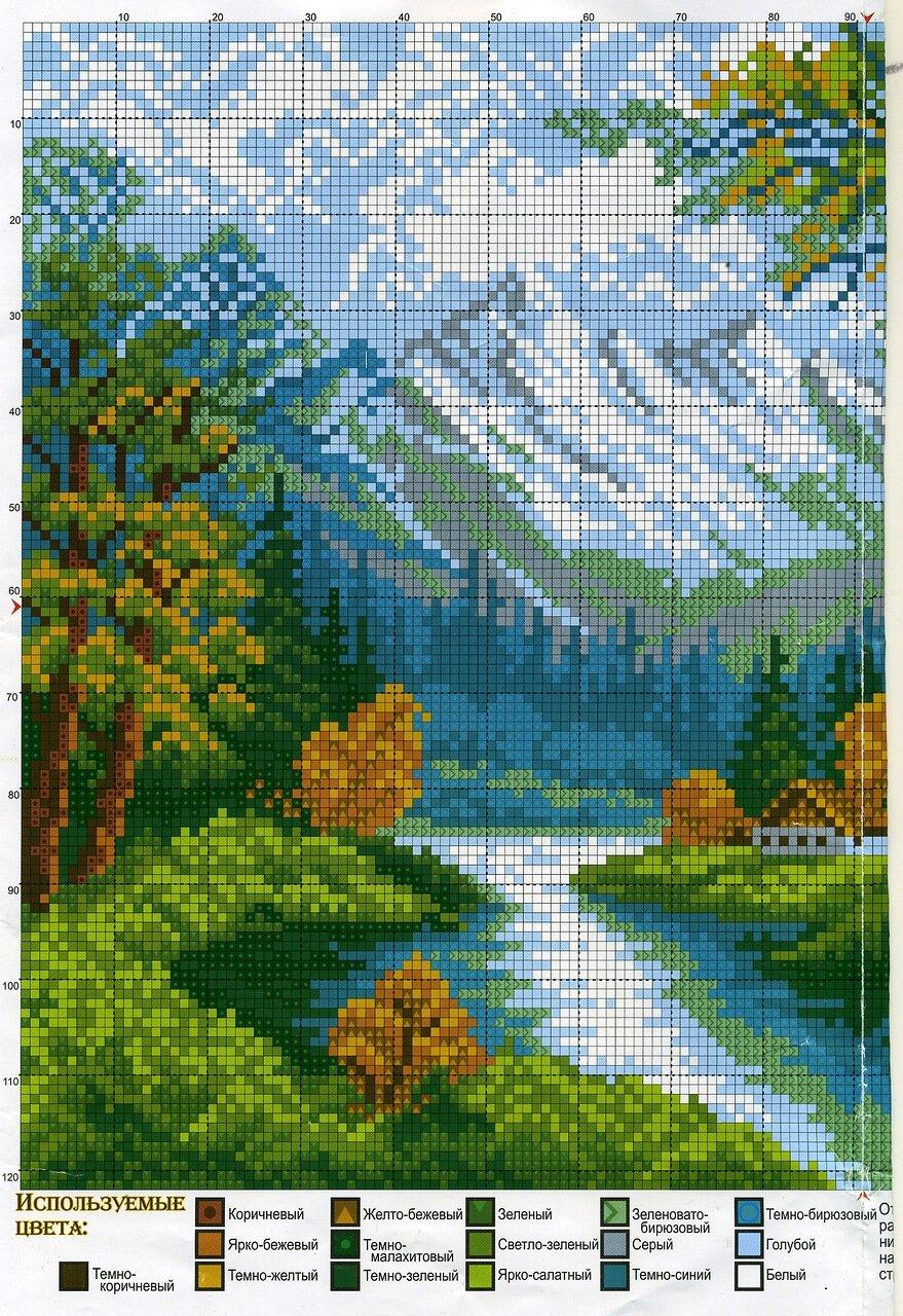 Вышивка крестиком схемы картинки природа, русалки рисунок лучше