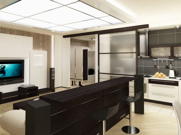как оформляется кухня студия с барной стойкой дизайн карточка
