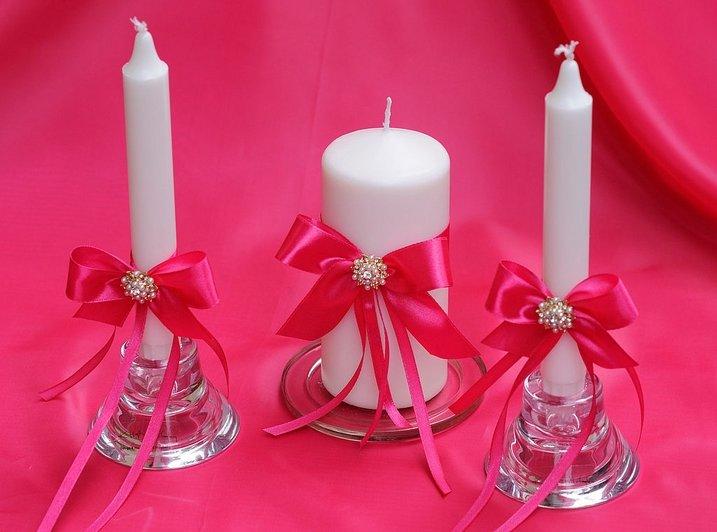 Свечи на свадьбу в красном цвете