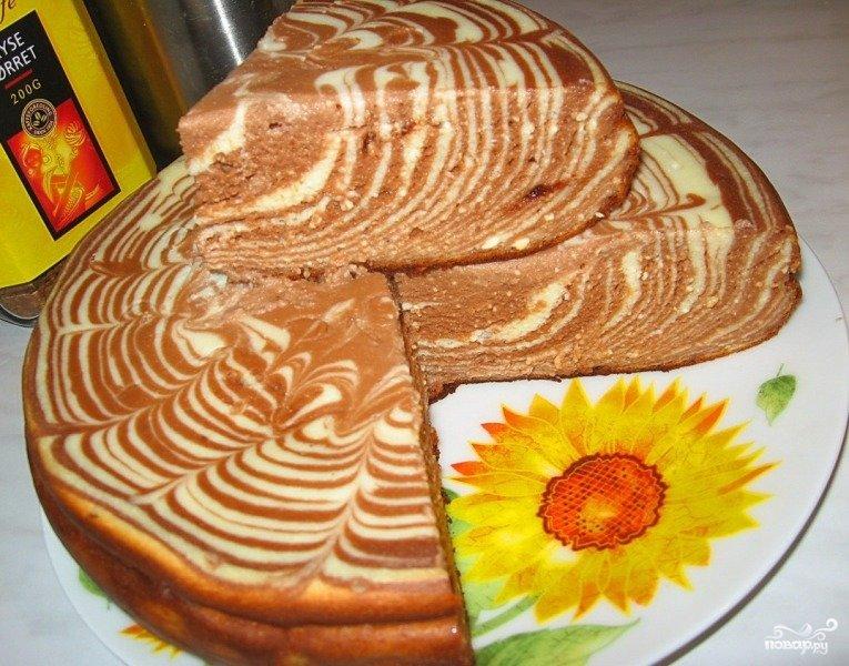 6 шоколадно-творожный пирог в мультиварке.