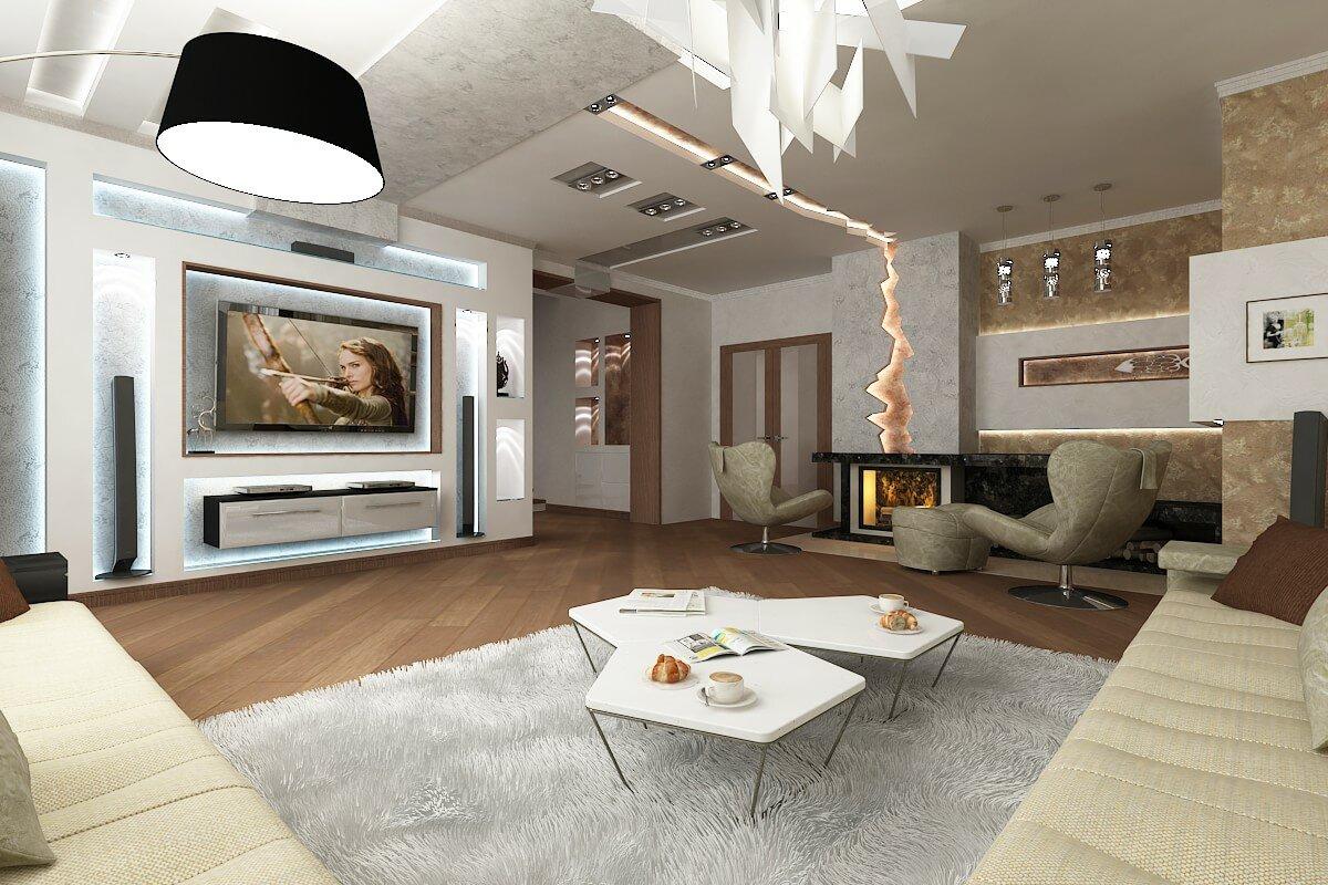дизайн гостиной в частном доме фото 2