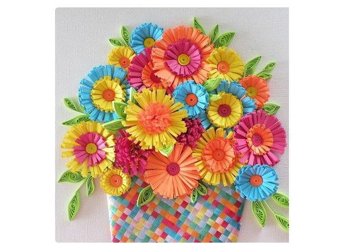 Открытка корзинка с цветами из бумаги