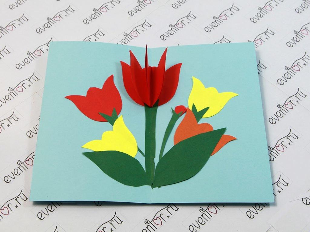 Как сделать открытку для учительницы на 8 марта