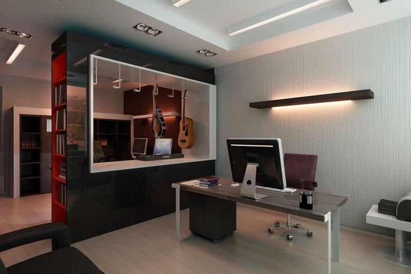 Домашний кабинет в темном цвете