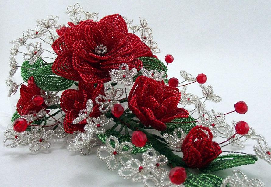 Букет роз из бисера своими руками, магазин цветов оранж
