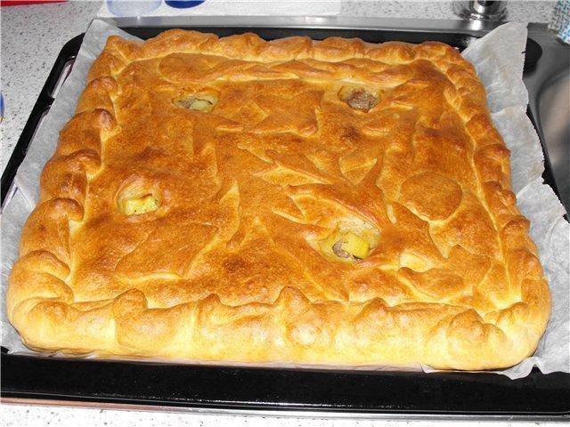 Пирог из пирожкового теста в духовке