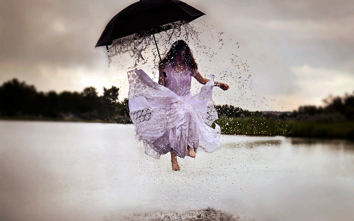 Цветами, картинки девушки под дождем под зонтом