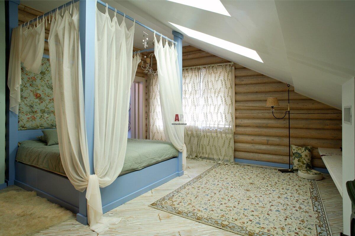 спальня мансарда деревянный дом дизайн фото 21 фото интерьер