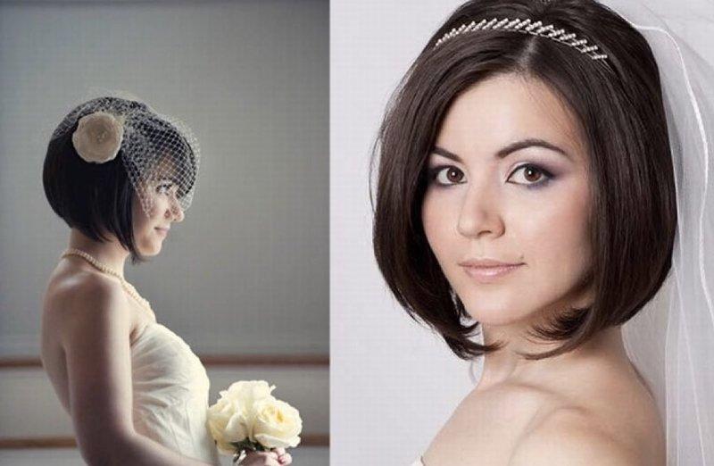 Свадебная прическа на каре фото