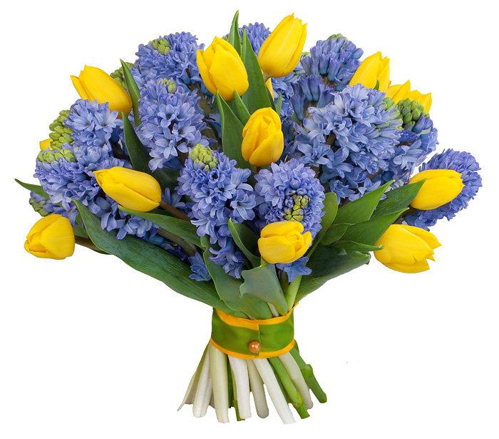 Цветов ришон, букет из весенних цветов в бело синей гамме