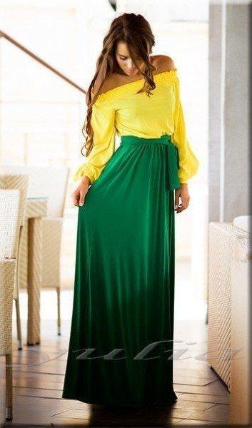 Желто-зеленое платье в пол