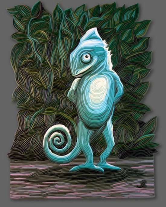 Американский художник Джозеф Барбаччиа (Joseph Barbaccia) использует полимерную глину для создания своих картин. Картина с изображением  хамелеона