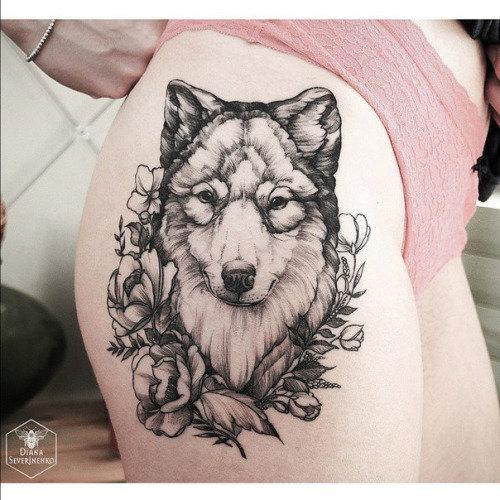 Тату волк на бедре фото