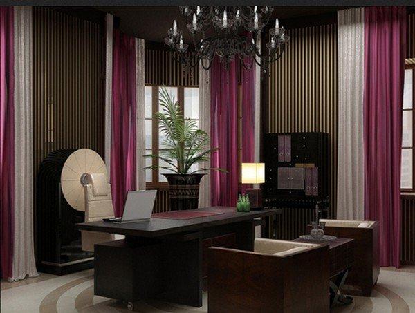 Домашний кабинет в красивых тонах темного цвета