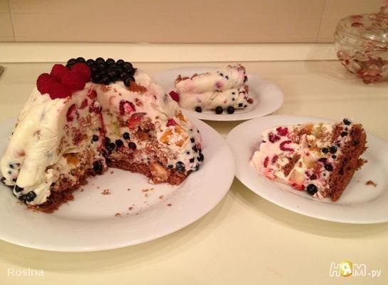 Легкий фруктово-ягодный торт без выпечки
