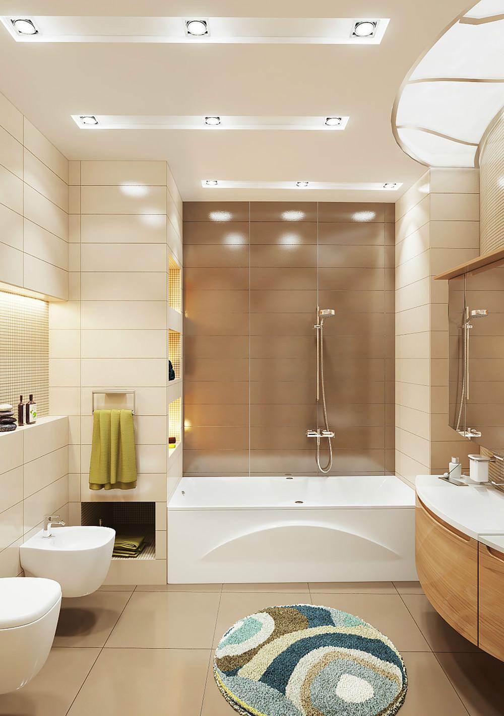 бежево коричневая ванная комната фото