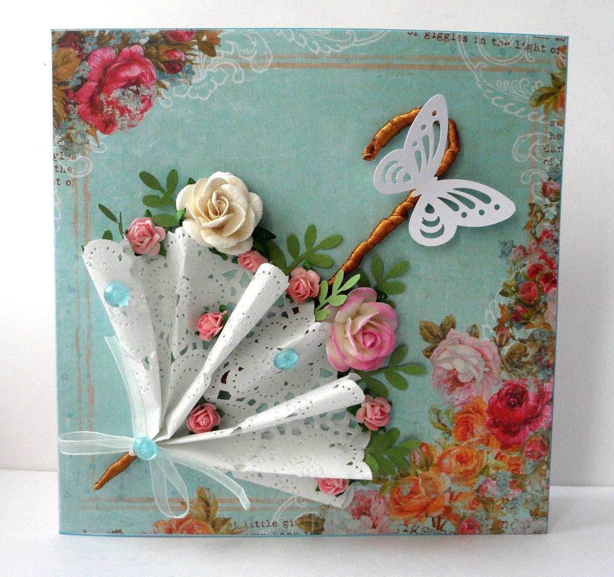 Гаданиями, открытка с зонтом и цветами