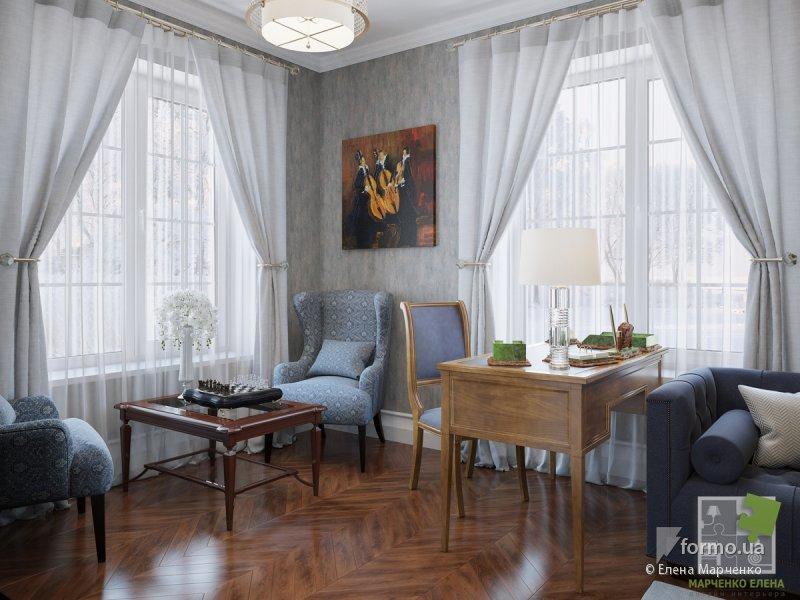 Интерьеры с рабочим местом в классическом стиле в доме