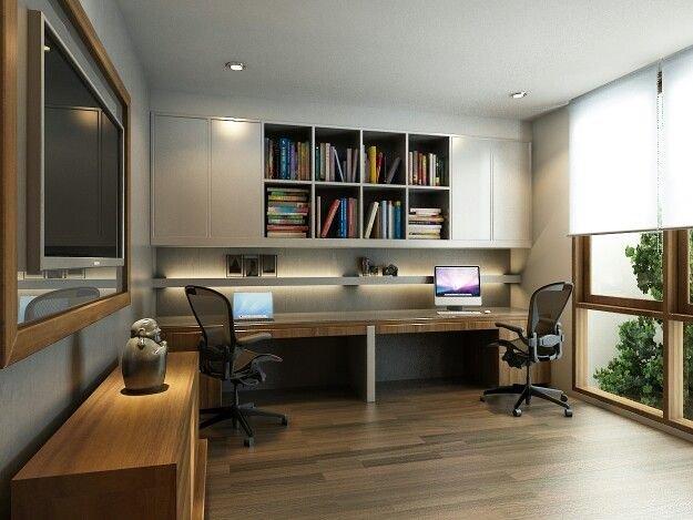 Дизайн маленького кабинета отлично дополняет освещение в потолке и столешнице