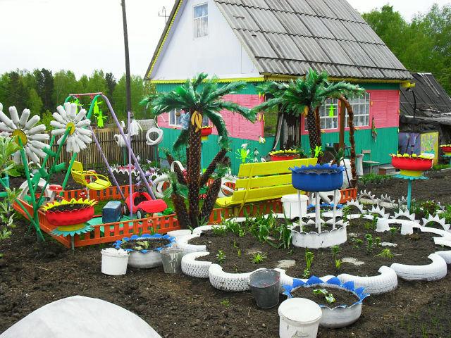 сад из подручного материала фото