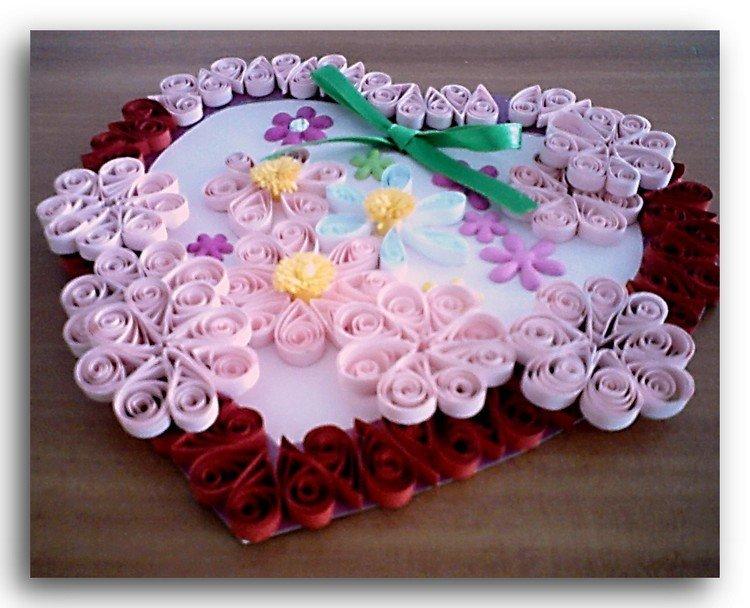 Открытка для мамы сердечко с цветами