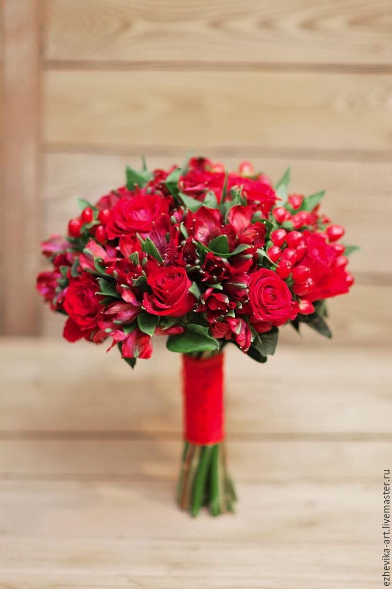 Свадебные букеты с красными цветами фото, цветов