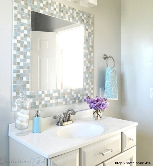 Зеркало с мозаикой для ванной.