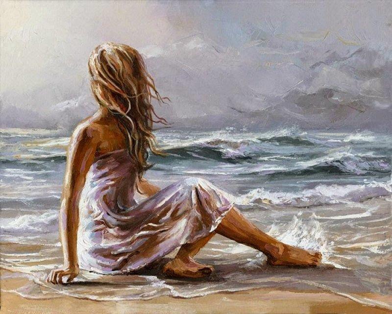 Открытка женщины у моря, позволяющий создавать